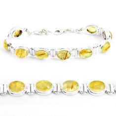 39.50cts natural golden tourmaline rutile 925 silver tennis bracelet p39048