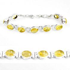 39.01cts natural golden tourmaline rutile 925 silver tennis bracelet p39049