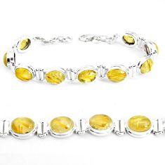 39.52cts natural golden tourmaline rutile 925 silver tennis bracelet p39050