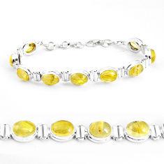 38.72cts natural golden tourmaline rutile 925 silver tennis bracelet p39052
