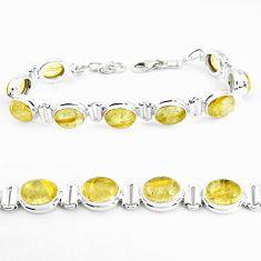 39.01cts natural golden tourmaline rutile 925 silver tennis bracelet p39053