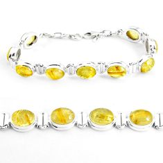 39.11cts natural golden tourmaline rutile 925 silver tennis bracelet p39054