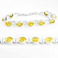 38.60cts natural golden tourmaline rutile 925 silver tennis bracelet p39059