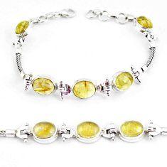 21.72cts natural golden tourmaline rutile 925 silver tennis bracelet p54771
