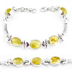 22.04cts natural golden tourmaline rutile 925 silver tennis bracelet p54772