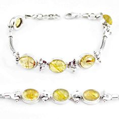 22.04cts natural golden tourmaline rutile 925 silver tennis bracelet p54774