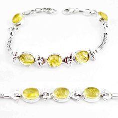 21.39cts natural golden tourmaline rutile 925 silver tennis bracelet p54775