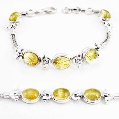 22.04cts natural golden tourmaline rutile 925 silver tennis bracelet p54776