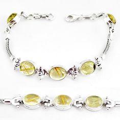 22.04cts natural golden tourmaline rutile 925 silver tennis bracelet p54779