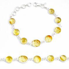 26.70cts natural golden tourmaline rutile 925 silver tennis bracelet p54819