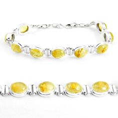 38.72cts natural golden tourmaline rutile oval 925 silver tennis bracelet p39057