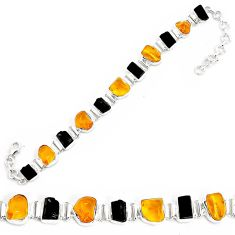 38.72cts natural green amber from colombia 925 silver tennis bracelet p35629