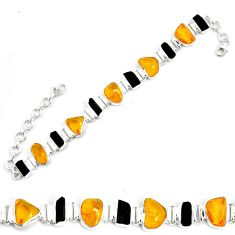 34.21cts natural green amber from colombia 925 silver tennis bracelet p35632