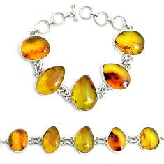 53.67cts natural green amber from colombia 925 silver tennis bracelet p46010
