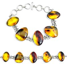 55.60cts natural green amber from colombia 925 silver tennis bracelet p46011