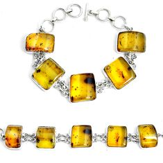 57.58cts natural green amber from colombia 925 silver tennis bracelet p46012