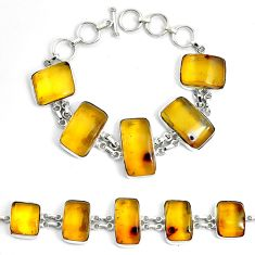 55.08cts natural green amber from colombia 925 silver tennis bracelet p46014