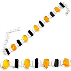37.88cts natural green amber from colombia fancy 925 silver bracelet p35638