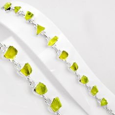 42.83cts natural green apatite rough 925 sterling silver tennis bracelet p89037