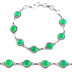15.46cts natural green chalcedony 925 sterling silver tennis bracelet p65101