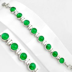 21.65cts natural green chalcedony 925 sterling silver tennis bracelet p89142