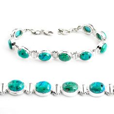 36.16cts natural green chrysocolla 925 sterling silver tennis bracelet p41031