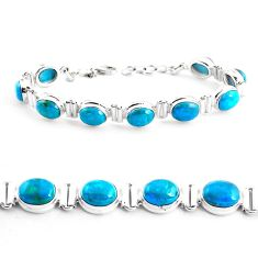 35.89cts natural green chrysocolla 925 sterling silver tennis bracelet p41033