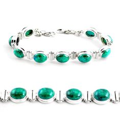 37.79cts natural green chrysocolla 925 sterling silver tennis bracelet p41034