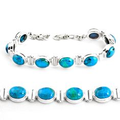 35.89cts natural green chrysocolla 925 sterling silver tennis bracelet p41035