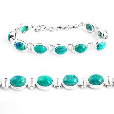 38.72cts natural green chrysocolla 925 sterling silver tennis bracelet p41038