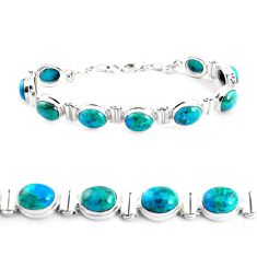 39.91cts natural green chrysocolla 925 sterling silver tennis bracelet p41040