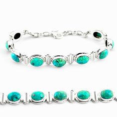 29.72cts natural green chrysocolla 925 sterling silver tennis bracelet p70721