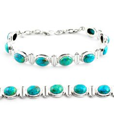 30.41cts natural green chrysocolla 925 sterling silver tennis bracelet p70722
