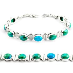 30.07cts natural green chrysocolla 925 sterling silver tennis bracelet p70723