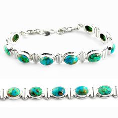 30.65cts natural green chrysocolla 925 sterling silver tennis bracelet p70725