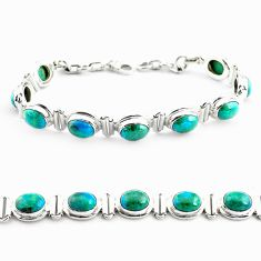32.11cts natural green chrysocolla 925 sterling silver tennis bracelet p70726