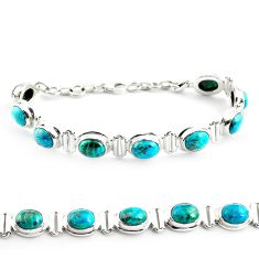 30.41cts natural green chrysocolla 925 sterling silver tennis bracelet p70727