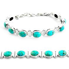 27.64cts natural green chrysocolla 925 sterling silver tennis bracelet p70730