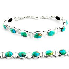 30.06cts natural green chrysocolla 925 sterling silver tennis bracelet p70731
