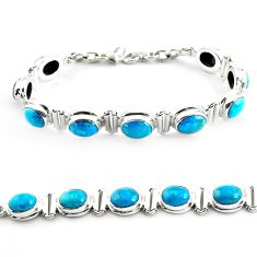 28.02cts natural green chrysocolla 925 sterling silver tennis bracelet p70733