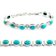 30.41cts natural green chrysocolla 925 sterling silver tennis bracelet p70734