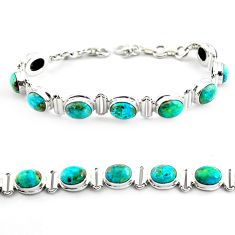 28.95cts natural green chrysocolla 925 sterling silver tennis bracelet p70735