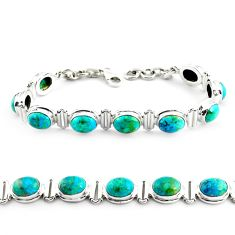 29.72cts natural green chrysocolla 925 sterling silver tennis bracelet p70737