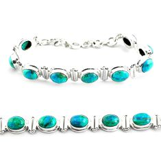 28.95cts natural green chrysocolla 925 sterling silver tennis bracelet p70739