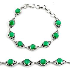 19.30cts natural green emerald 925 silver tennis bracelet jewelry p68062