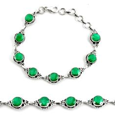 19.54cts natural green emerald 925 silver tennis bracelet jewelry p68063