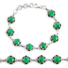 19.53cts natural green emerald 925 silver tennis bracelet jewelry p68065