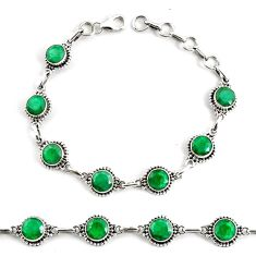 17.54cts natural green emerald 925 silver tennis bracelet jewelry p68067