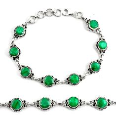 19.34cts natural green emerald 925 silver tennis bracelet jewelry p68069