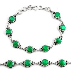 19.34cts natural green emerald 925 silver tennis bracelet jewelry p68070